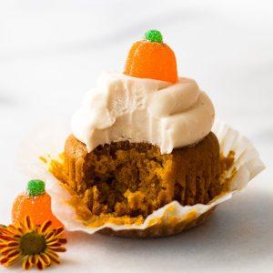 pumpkin spice cupcake with bite taken