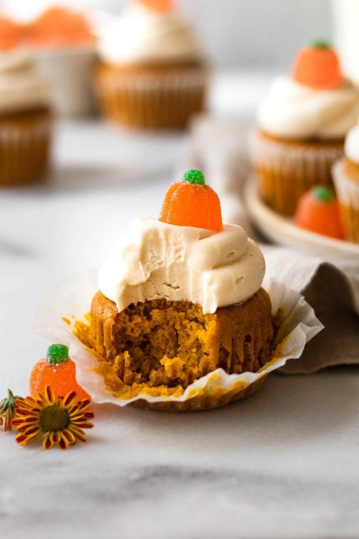 bite taken of pumpkin cupcake