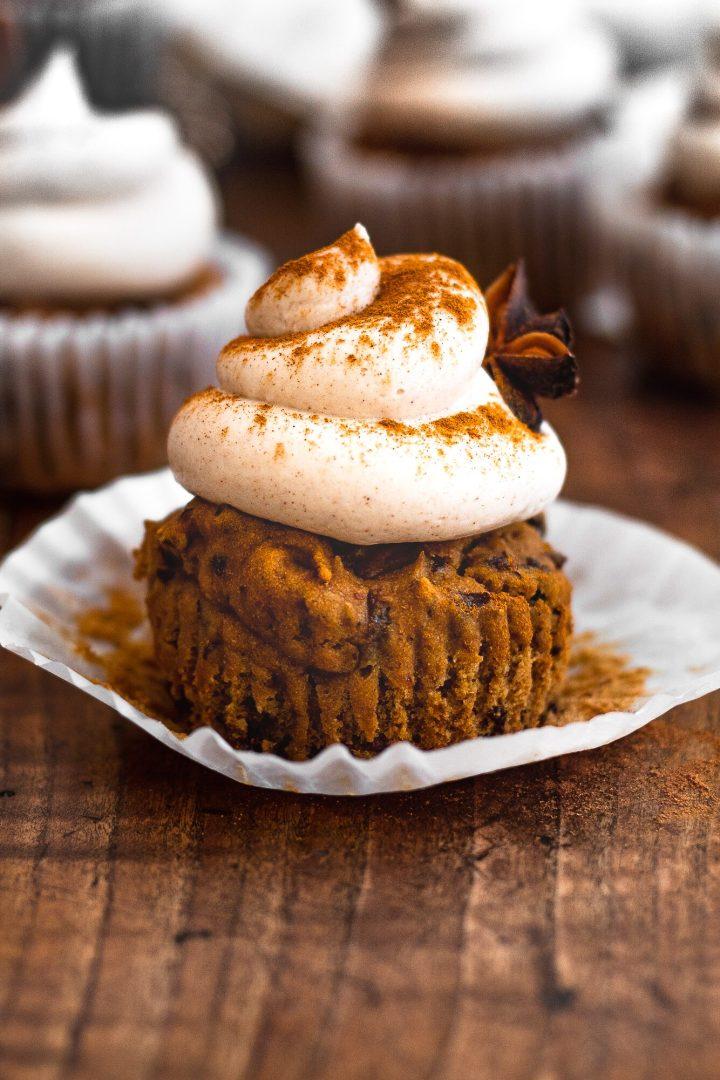 cinnamon cupcake with sprinkling of cinnamon on top