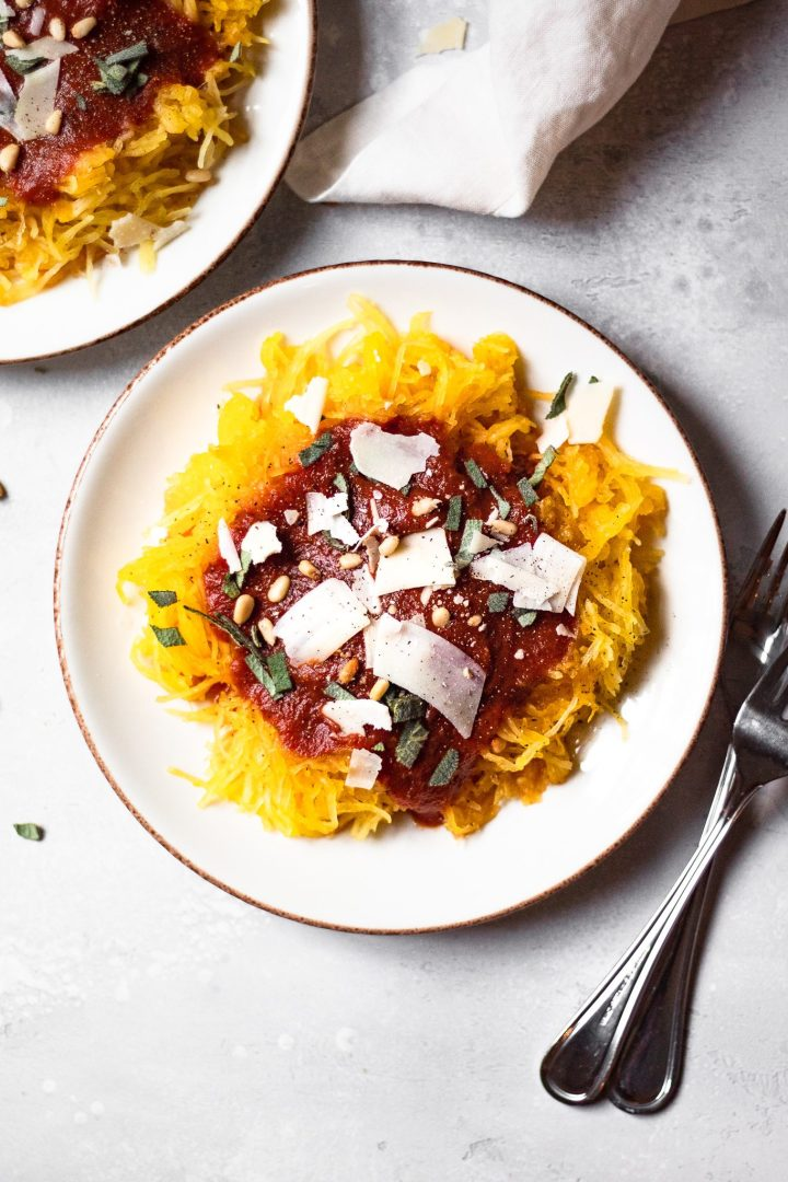 plate of spaghetti squash with marinara