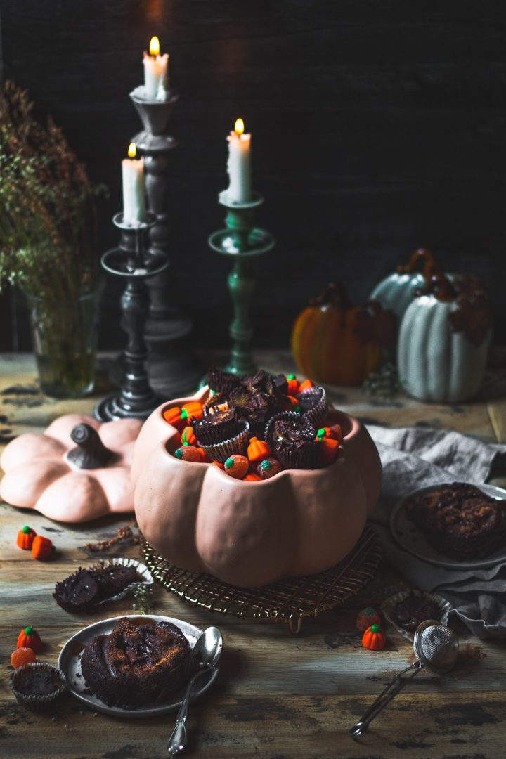 spooky food photography scene for molten lava cakes