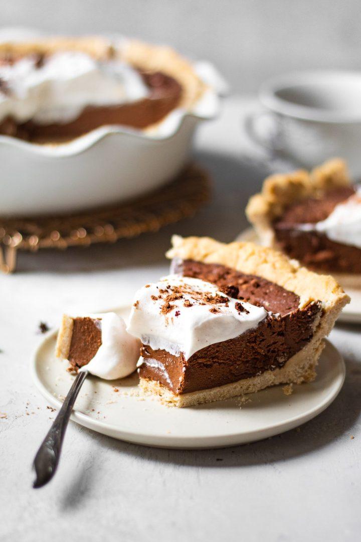 slice of chocolate cream pie on plate