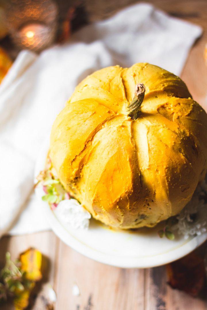 angle of pumpkin cake