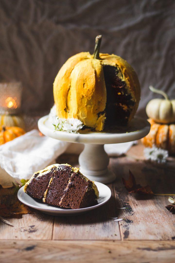 sliced pumpkin cake