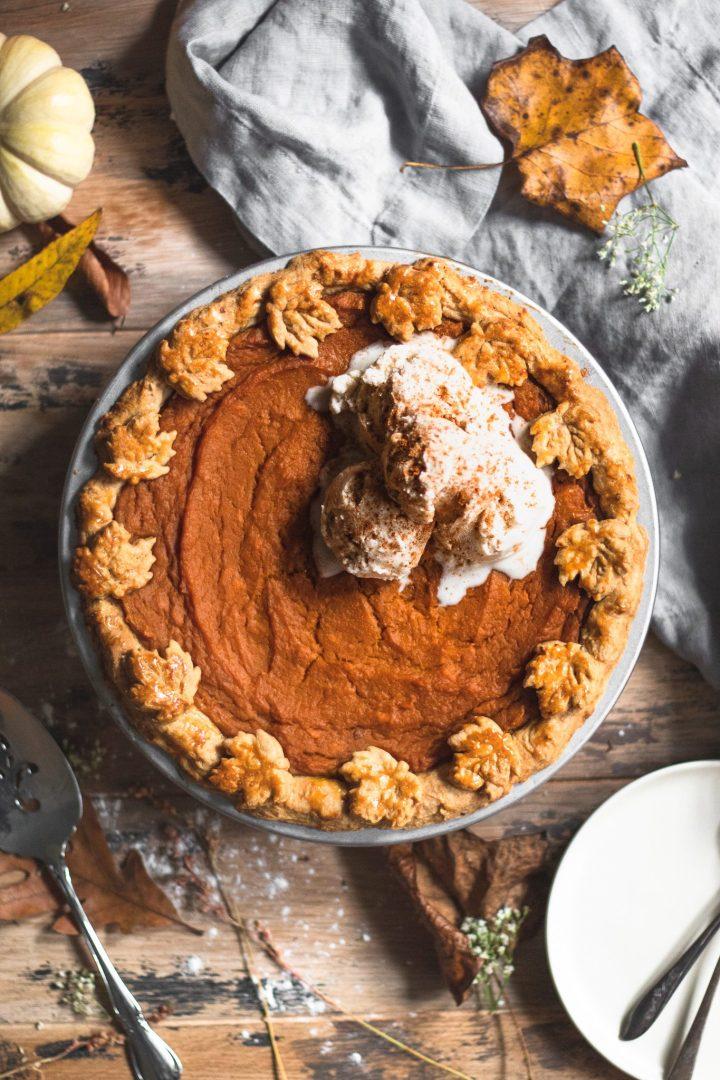 baked sweet potato pie with ice cream