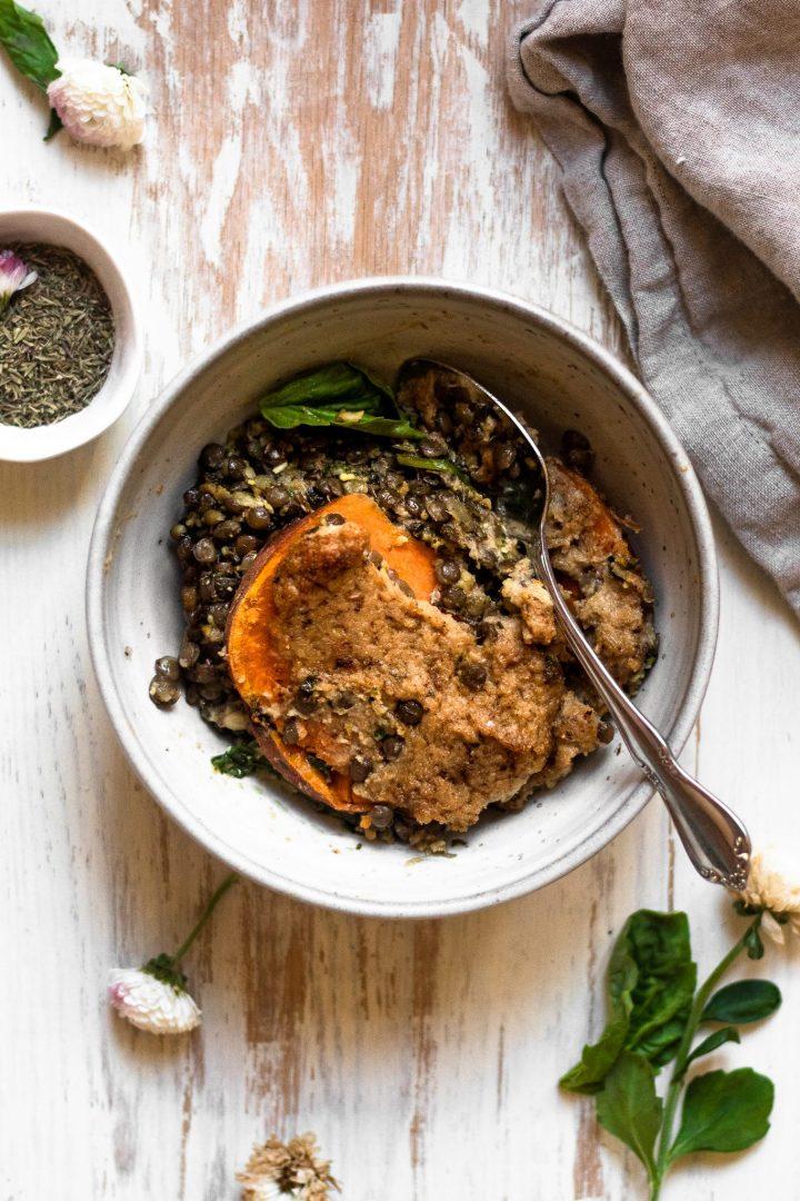bowl of lentil lasagna