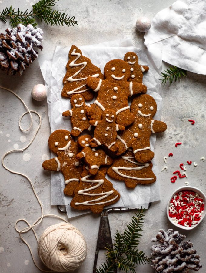 gluten free gingerbread cookies on cooling rack