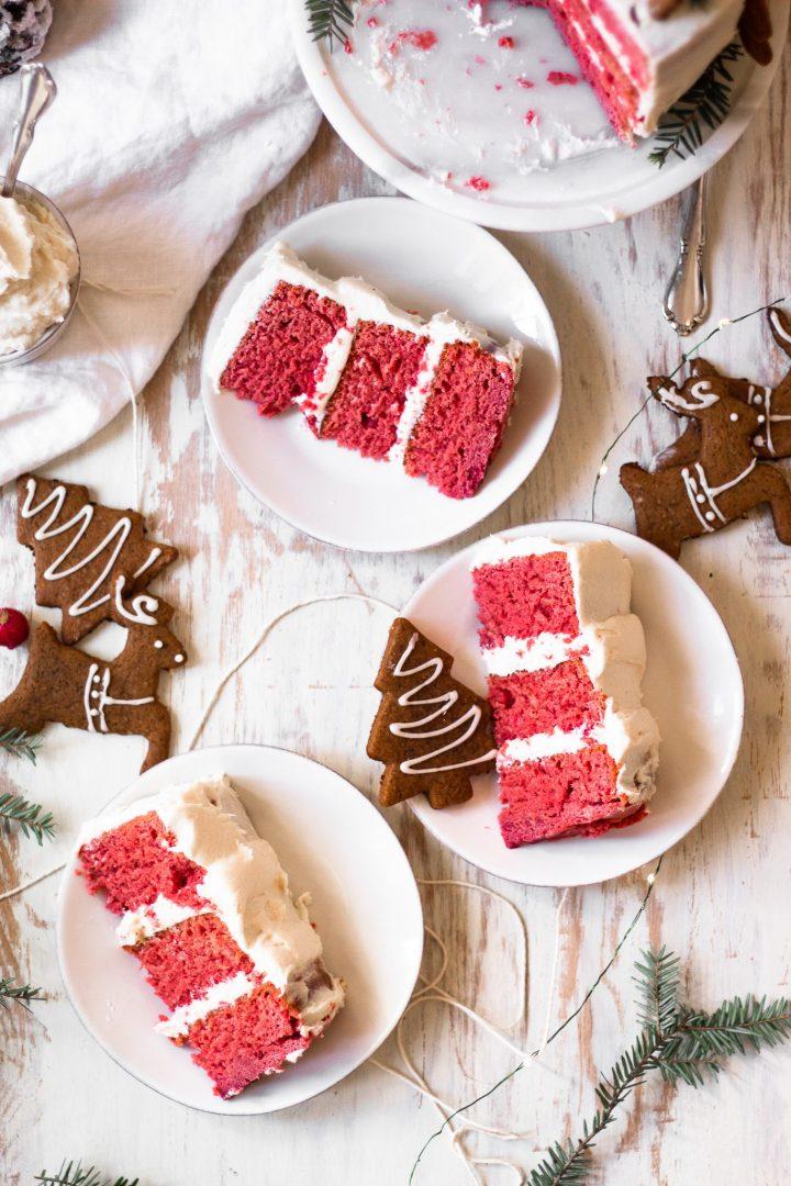 overhead of slices of red velvet cake