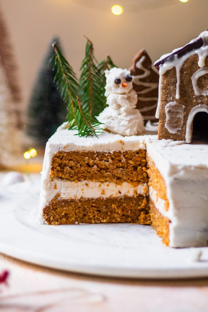 sliced spice cake