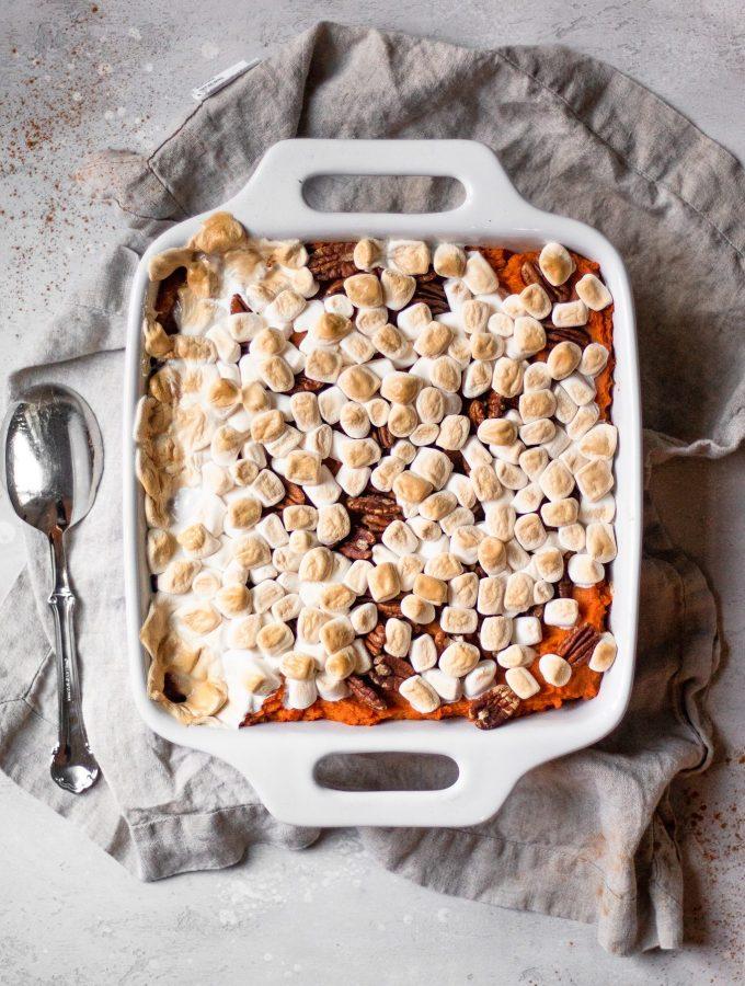 vegan sweet potato casserole with marshmallow and pecans