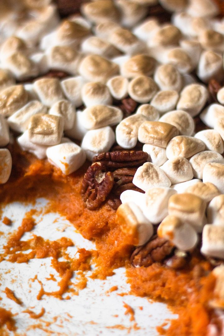close up of sweet potato mash