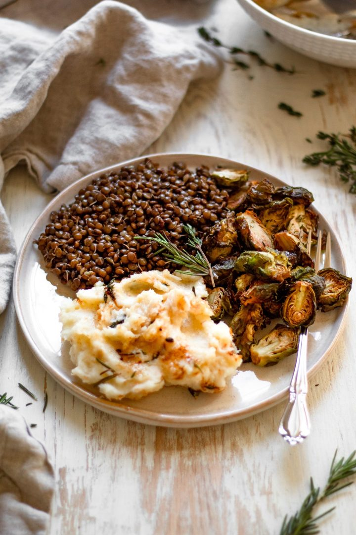 side angle of mashed potatoes and lentils