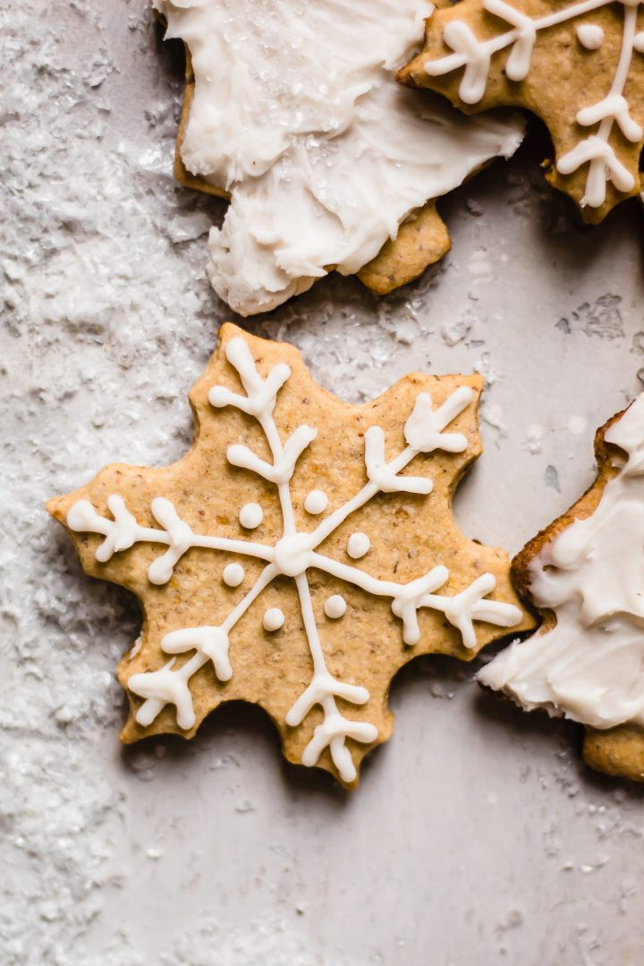 close up of snowflake sugar cookie