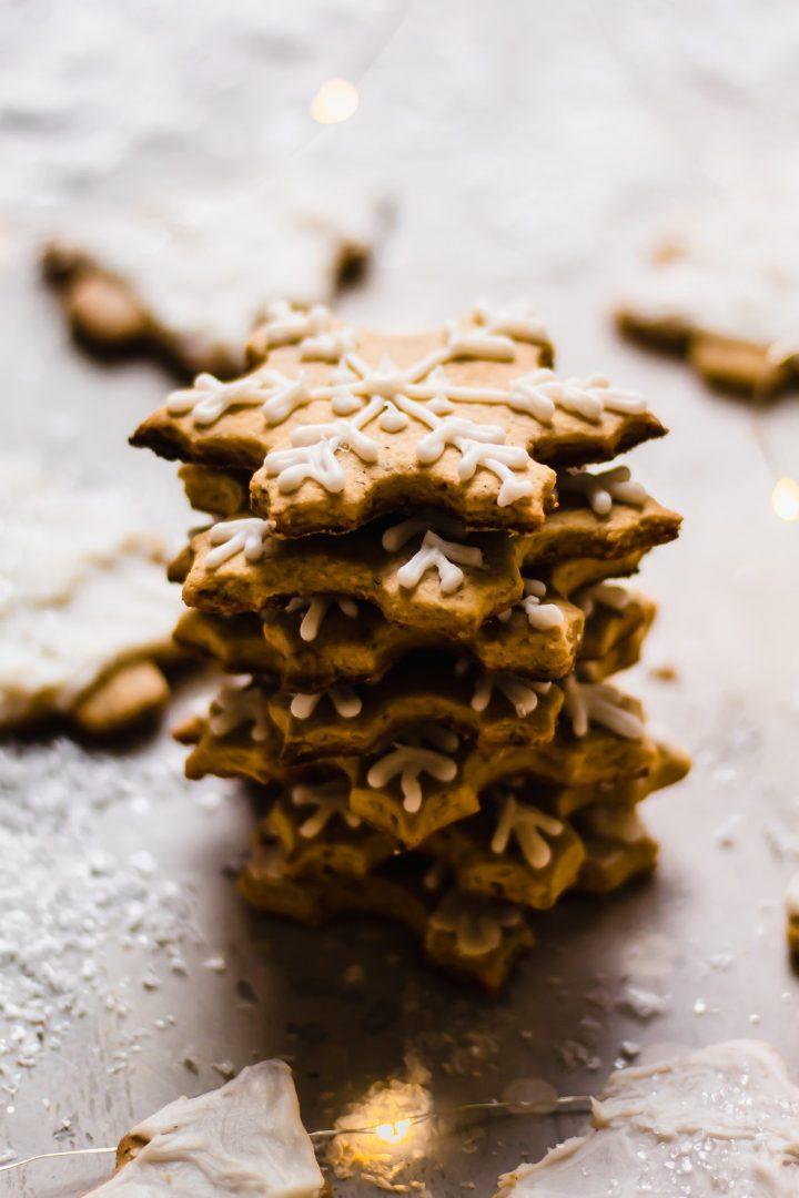 stack of snowflake sugar cookies
