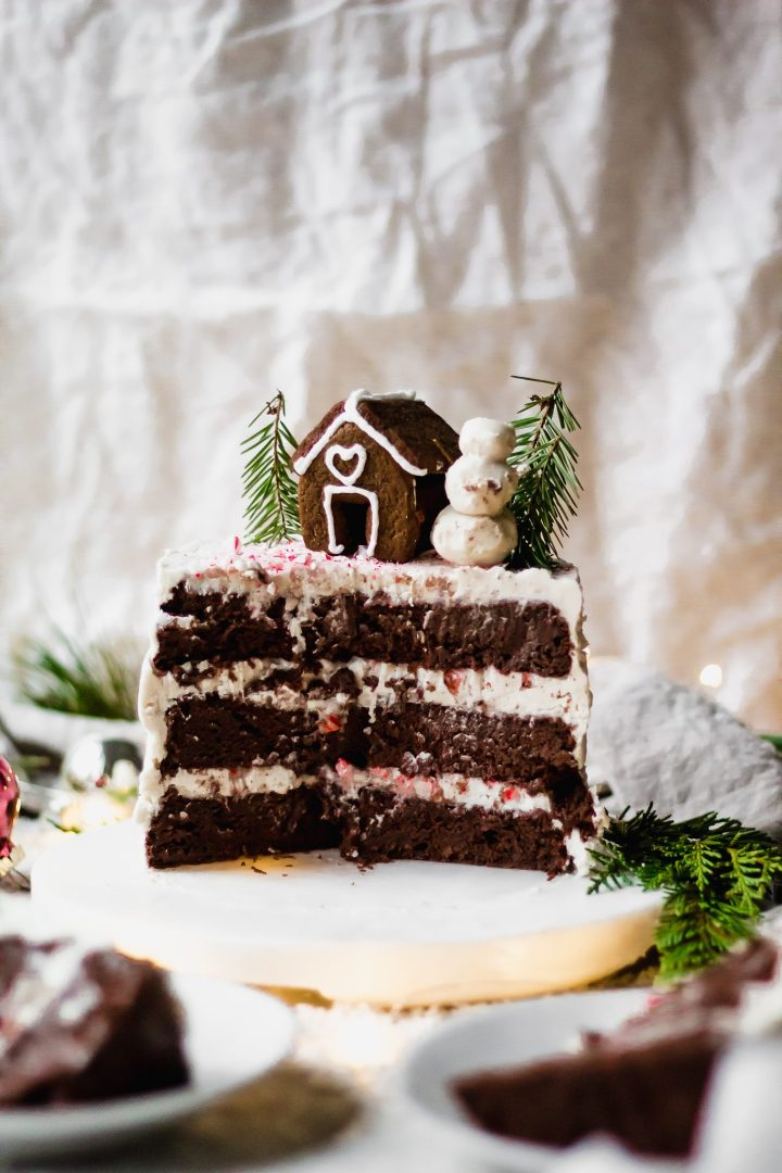 sliced vegan chocolate peppermint cake