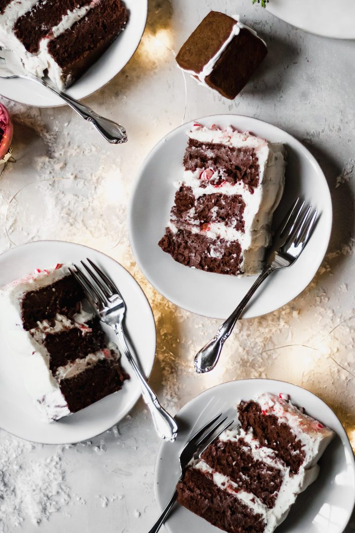 slices of chocolate peppermint cake
