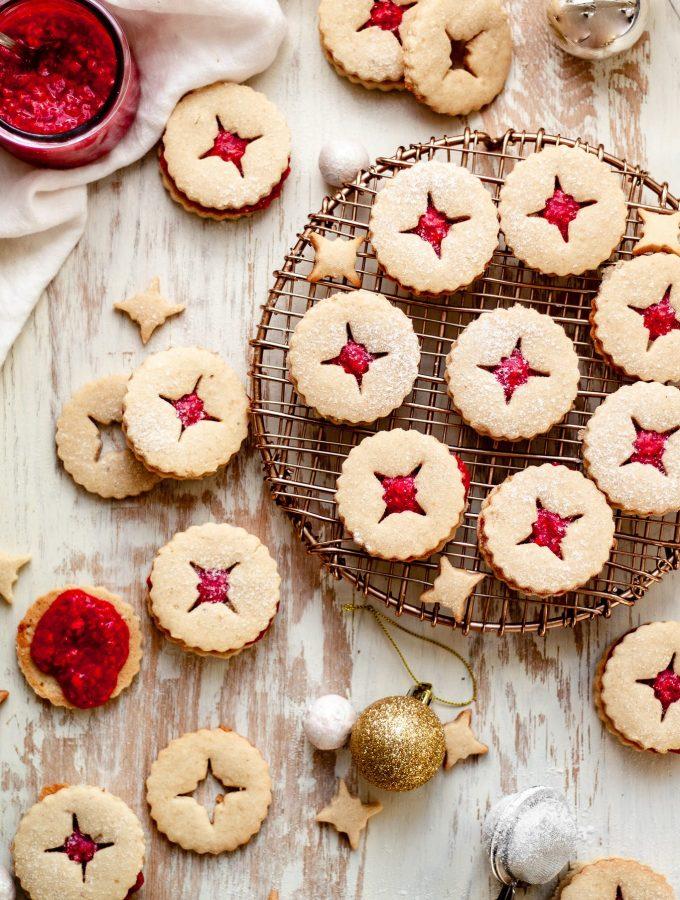 holiday vegan Linzer cookies