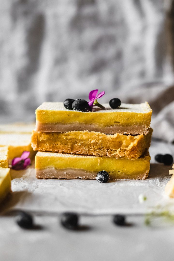 stack of vegan lemon bars