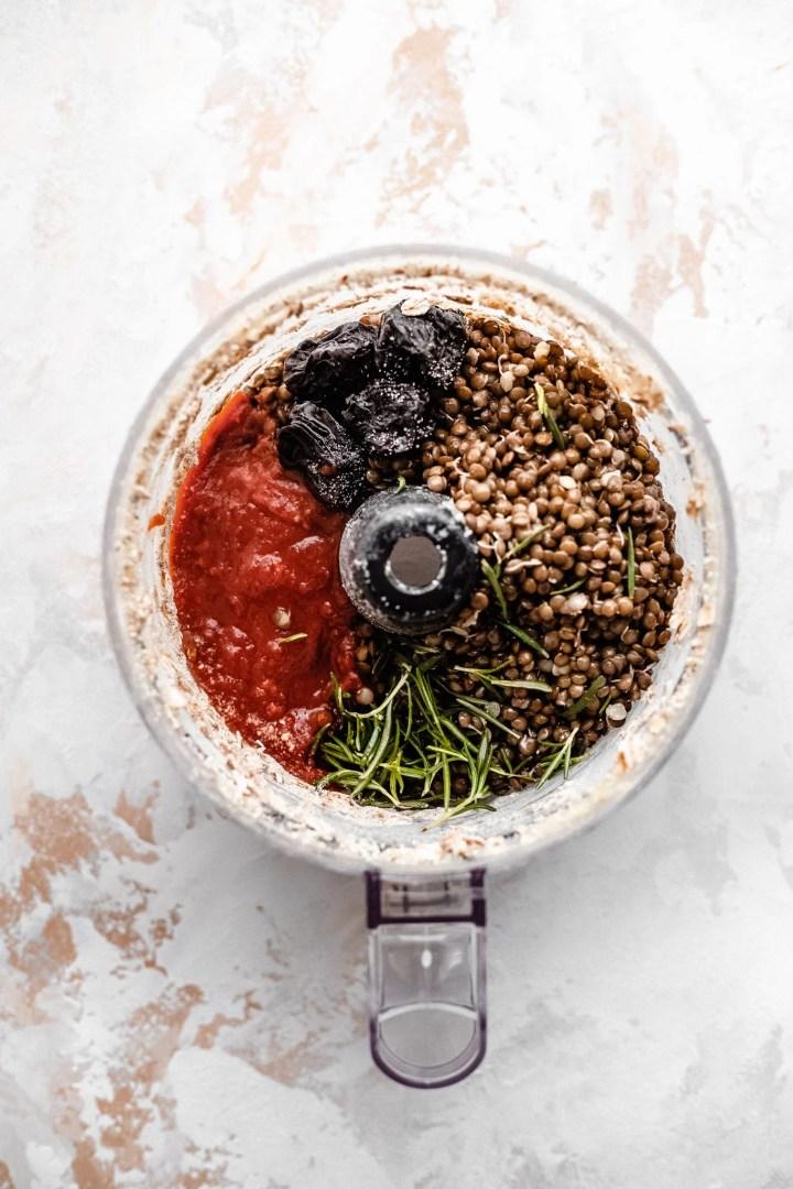 vegan meatball ingredients in food processor