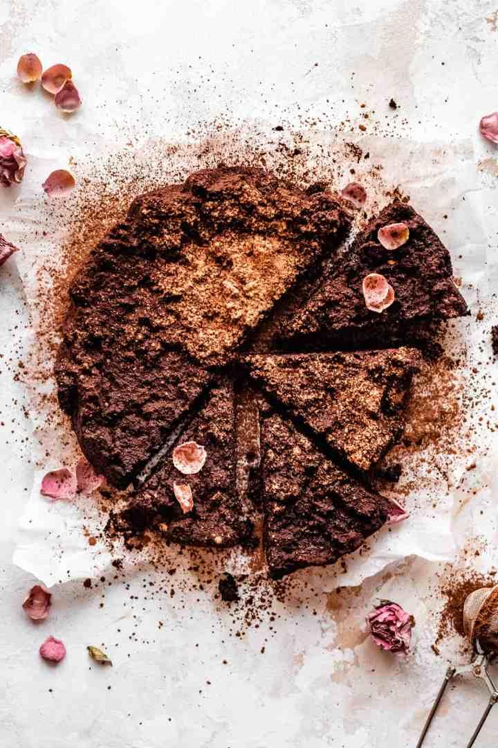 sliced dairy free flourless chocolate cake