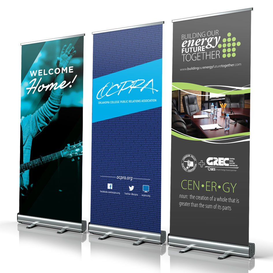 retractable banner stand complete