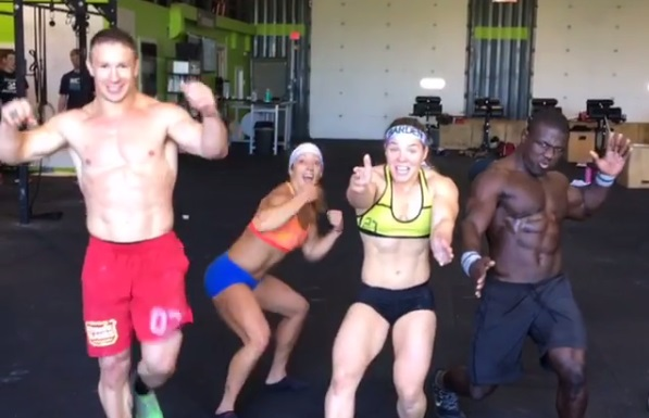 Cool Whip and a Chocolate Chip have soem fun between CrossFit Team Series workouts