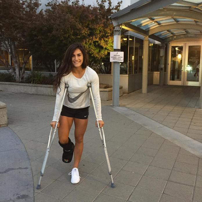 Lauren Fisher after ankle surgery