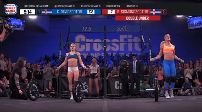 Katrin Davidsdottir and Sara Sigmundsdottir during 17.5 (screen cap)