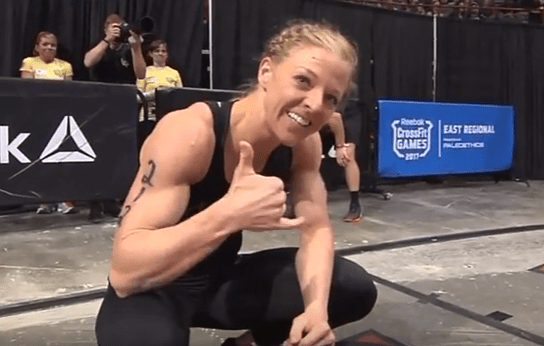 Chelsey Hughes after finishing Event 6 of the CrossFit East Regional.