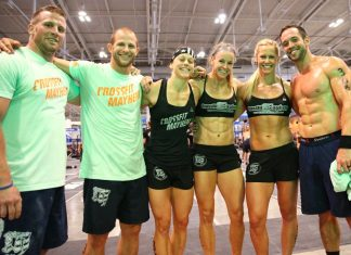 Two-time Affiliate Cup champion CrossFit Mayhem sits atop the Leaderboard at the end of Day 1. The team swept the first day of competition with two first-place finishes.