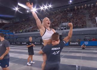 Frederick Aegidius and Annie Thorisdottir celebrate after Aegidius qualifies for 2017 CrossFit Games