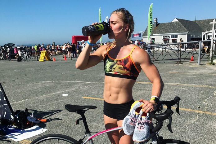 Katrin Davidsdottir finishes sprint triathlon last Sunday in preparation for CrossFit Games. @katrintanja/Instagram