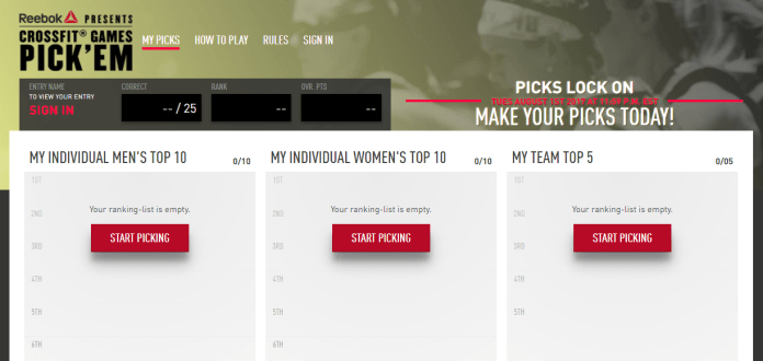 Reebok introduces CrossFit Games Pick 'Em Challenge for chance to win $1 million grand prize.