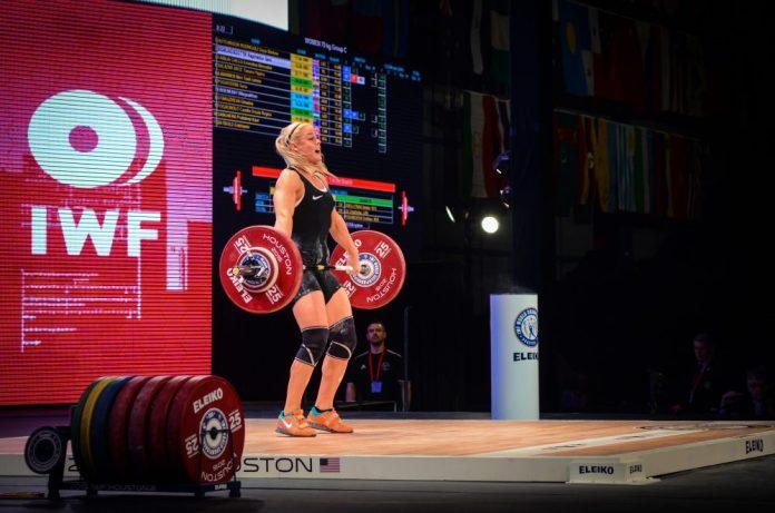 Sara Sigmundsdottir at the 2015 IWF World Championships in Houston, Texas. Photo courtesy of Lifting Life.