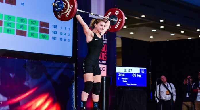 Kate Vibert at the 2017 USAW National Championships. Photo courtesy of Lifting Life.