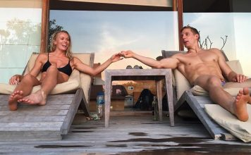 Brent Fikowski and fiance Claire Rostron in Bali a day before getting married. @clairelouise909/Instagram
