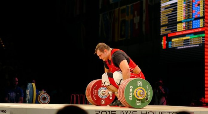 Aleksei Lovchev at the 2015 IWF World Championships. Photo by Lifting Life.