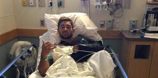 Cody Mooney following surgery to repair torn labrum. @cmooneycf/Instagram