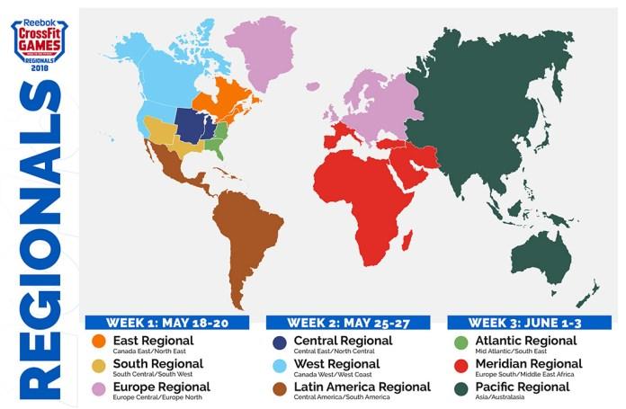 2018 CrossFit Regional map