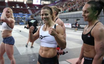 After earning two second- place finishes on Day 1, Kristin Holte sits atop the Meridian Regional Leaderboard. Photo courtesy of CrossFit Inc.