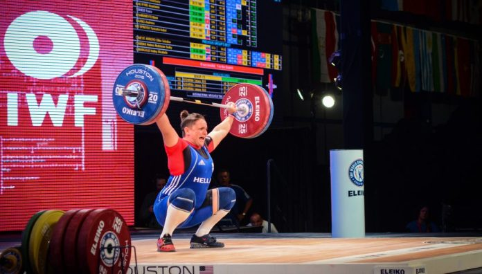 Eftychia Ananiadou at the 2015 IWF World Championships in Houston, Texas. Photo courtesy of Lifting Life.