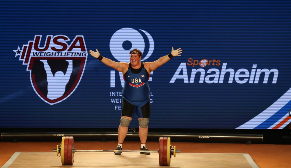 Sarah Robles wins three gold medals at 2017 IWF World Championships. Photo courtesy of Lifting Life.