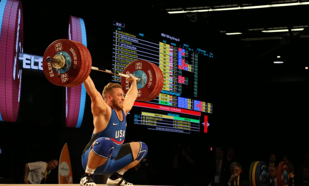 Wes Kitts snatching new American Record, 176kg, at the 2017 IWF World Championships. Photo courtesy of Lifting Life.