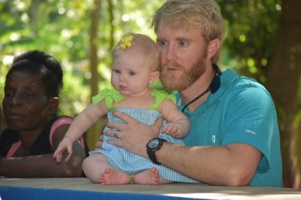 Sweet PE was enjoying watching the Baptisms.