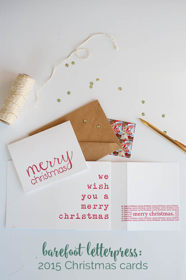 2015 Christmas card range from Barefoot Letterpress