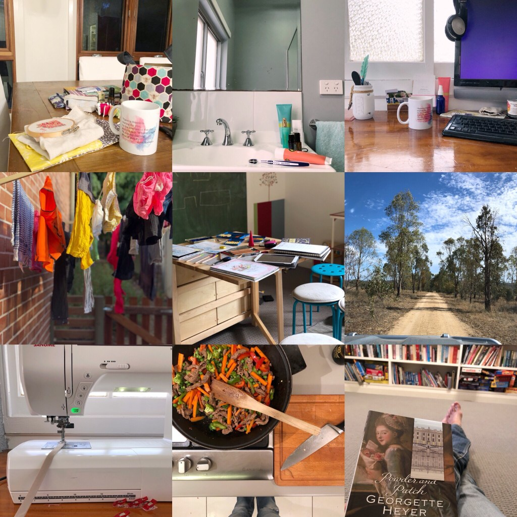 1. 5.41 - up and into the morning routine    2. personal care regime    3. BOGO week! Into the office nice and early to get some work done before the kids are up    4. never not dealing with washing    5. school time!    6. getting outdoors and collecting vegies at the farm    7. finally some me time to finish a project    8. just a basic stirfry for dinner tonight    9. 9.04pm and I'm finally done for the day and can sit with my latest book