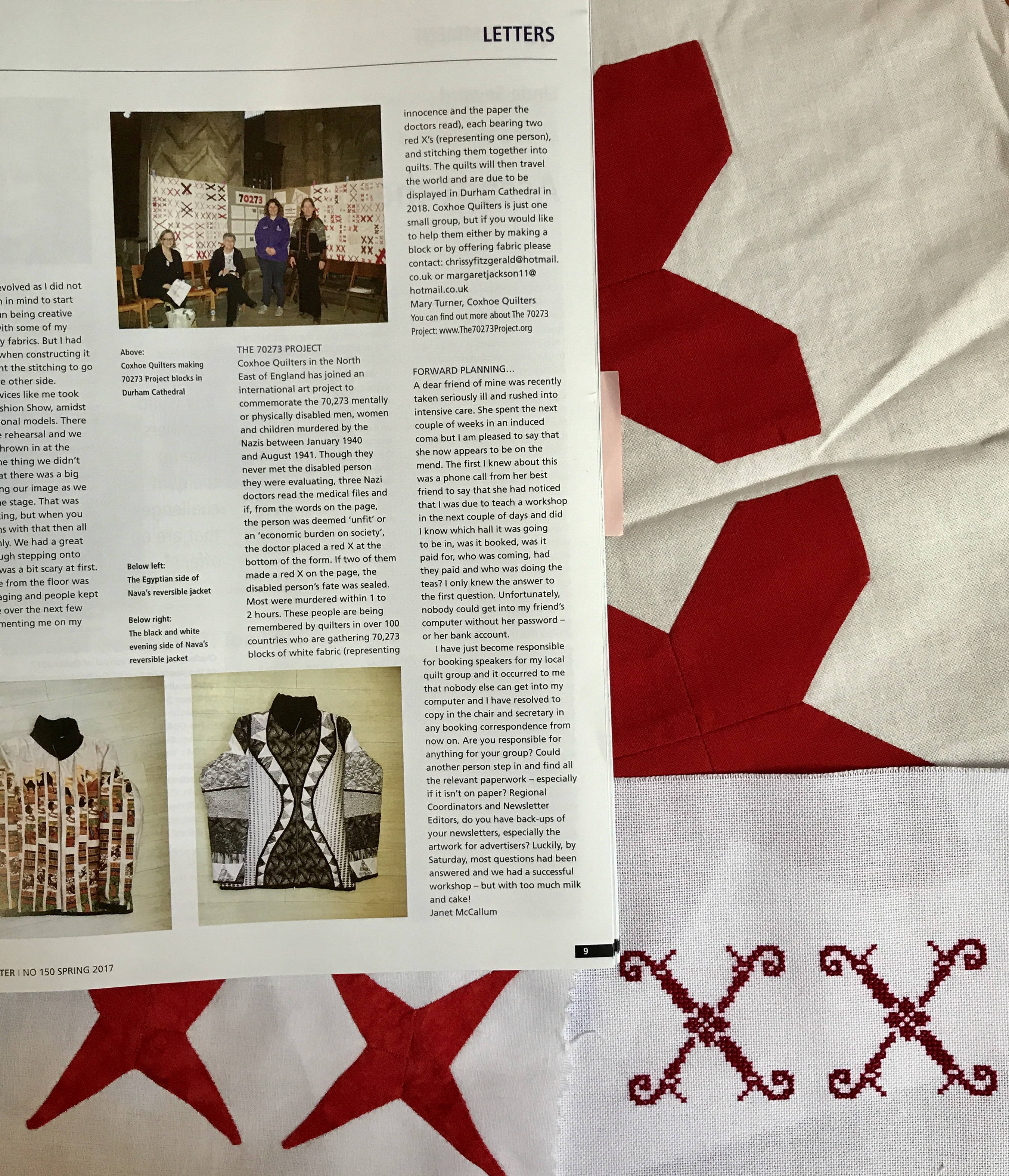 Sam Bell sent these beautiful blocks  one in each size  and a copy of the  Spring 2017 issue of The Quilter magazine, the periodical of The Quilters'  Guild ...