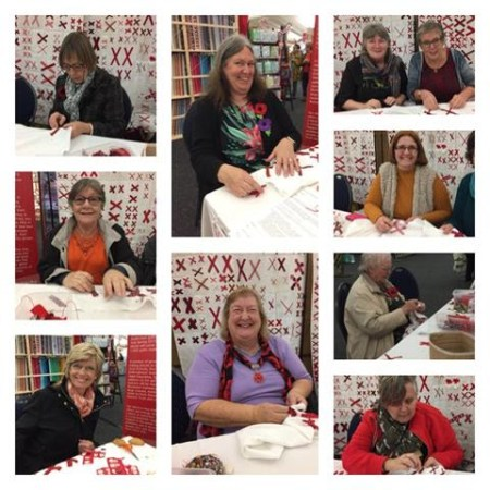 a collage of people in the UK making blocks for The 70273 Project