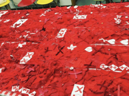 a jumble of red X's