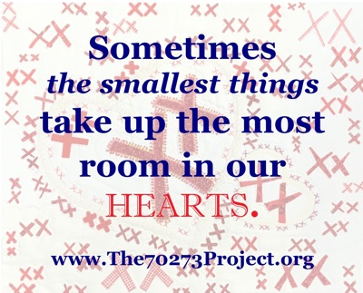 Text over pairs of red X's: Sometimes the smallest things take up the most room in our Hearts. www.The70273Project.org